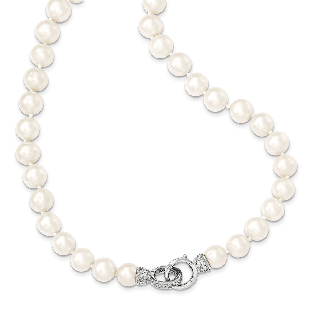 Sterling Silver 18in 9-10mm White Freshwater Cultured Pearl CZ Fancy Clasp Necklace
