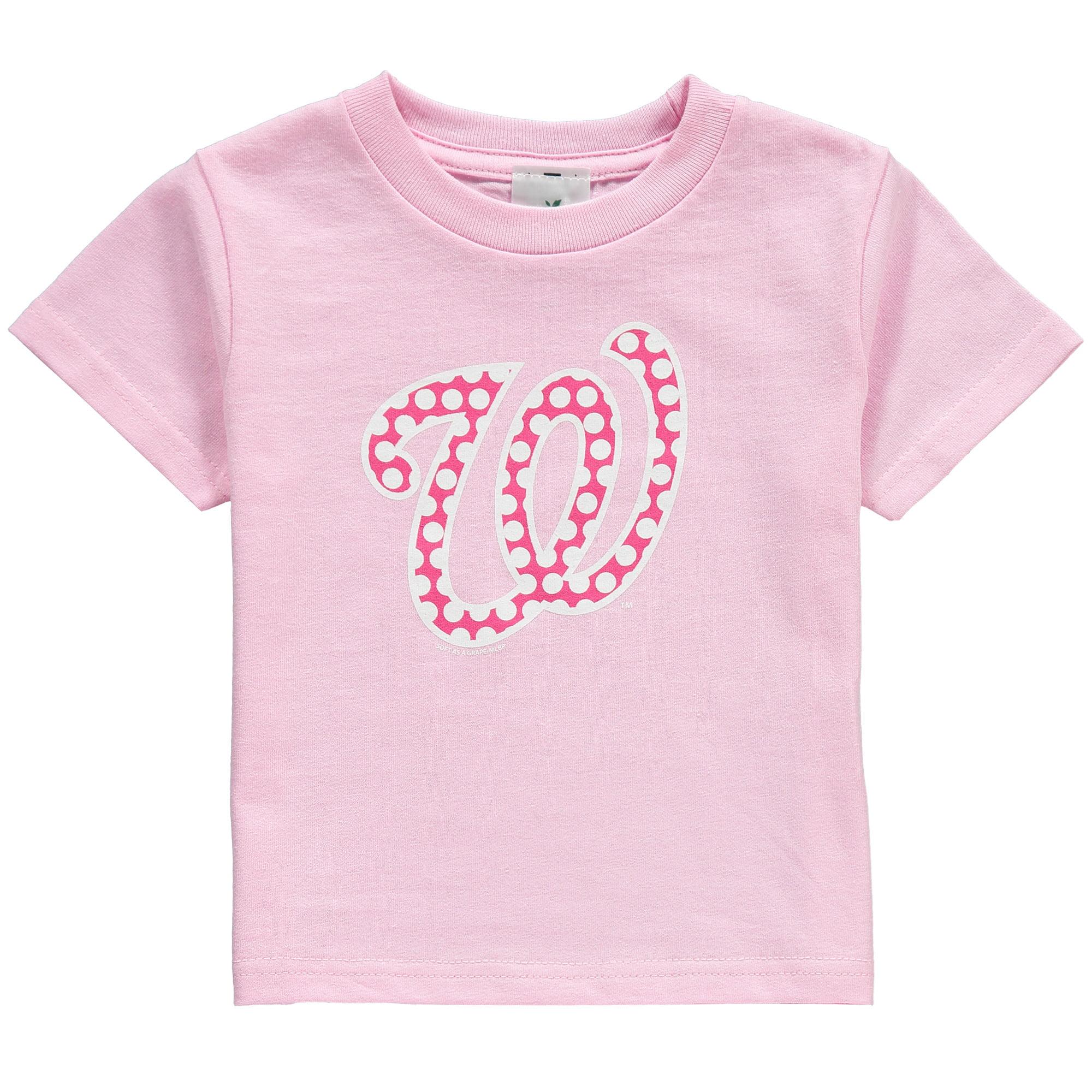 Washington Nationals Soft as a Grape Toddler Girls Polka Dot Logo T-Shirt - Pink