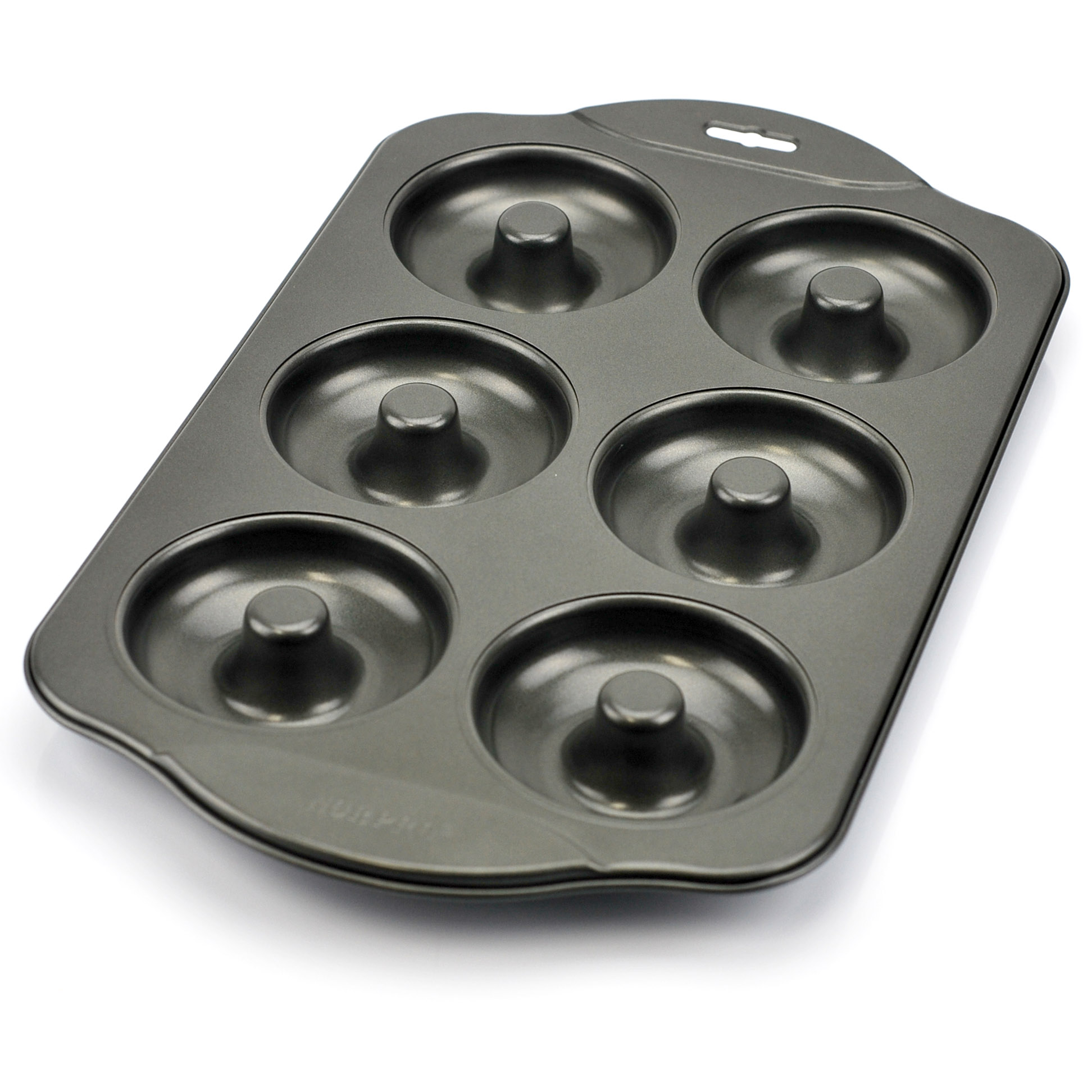 Donut pan, nonstick donut hole pan stainless, 6 count - silver gray (pack of 2)