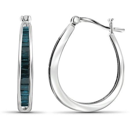 Jewelersclub 1 Carat T W Blue Diamond Sterling Silver Hoop Earrings