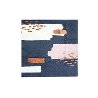 "Harlow & Grey, Erika Pale Pink, Navy and White Abstract Cocktail Paper Napkins with Rose Gold Foil Decor, 5"" Folded, 20 Count"