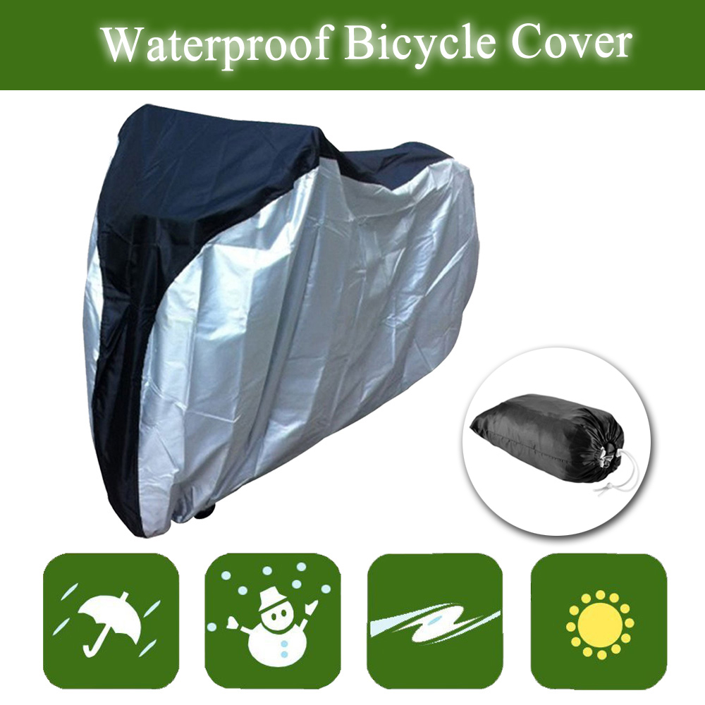 IClover Bike Cover Rain/Sun Protector Outdoor Waterproof Bicycle Covers 74''x38.6''x25.6'' Rainproof Sun-proof Dustproof with Buckle 190T Nylon UV Resistant Silver & Black