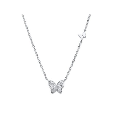 "Round Cubic Zirconia Butterfly Necklace in Sterling Silver 18""-20"" (.16 TCW)"