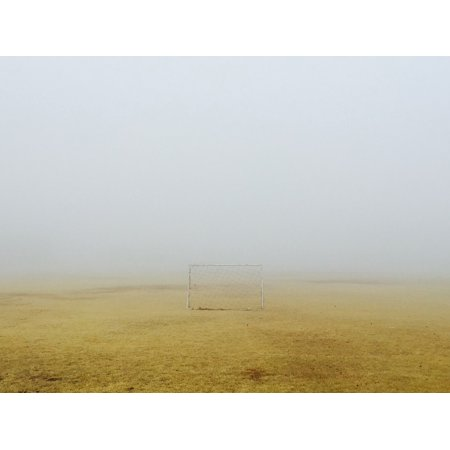 LAMINATED POSTER Field Grass Game Play Soccer Goal Dry Brown Fog Poster Print 24 x 36