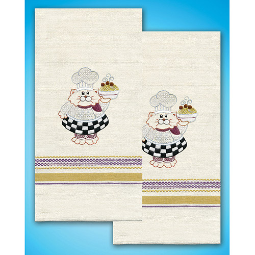 Tobin Cat Chef Stamped Kitchen Towels For Embroidery