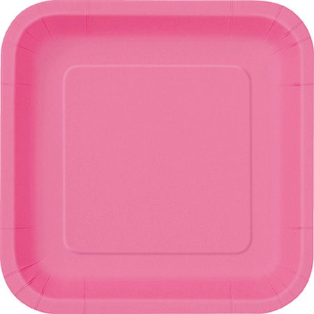 Square Paper Plates, 7 in, Hot Pink, 16ct - Paper Square Plates