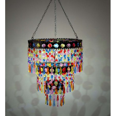Solar Lighted Colorful Mini Chandelier with Faux Crystals and Jewels
