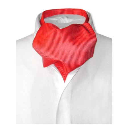 Antonio Ricci ASCOT Solid RED Ribbed Pattern Color Cravat Men's Neck -