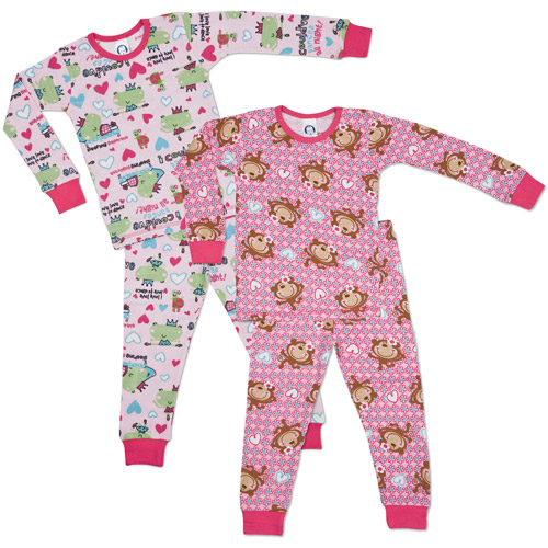 Gerber - Baby Girls' Thermal Pajamas, 2 Pack