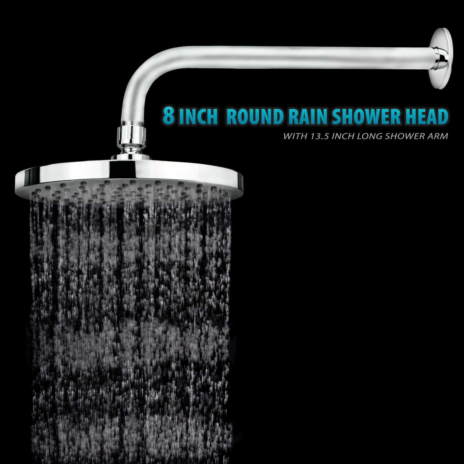 Spa 8 inch Rainfall Round 90 Jet Rain Shower Head with 13.5 inch Extension Arm