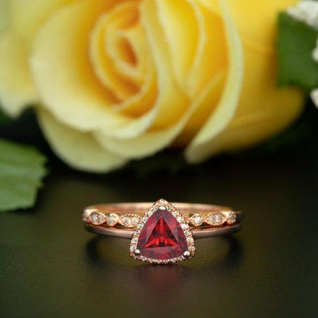 Art Deco 1.5 Carat Trillion Cut Real Ruby and Diamond Bridal Wedding Ring Set with Engagement Ring and Wedding Band in 18k Gold Over Silver Diamond Trillion Twist Ring
