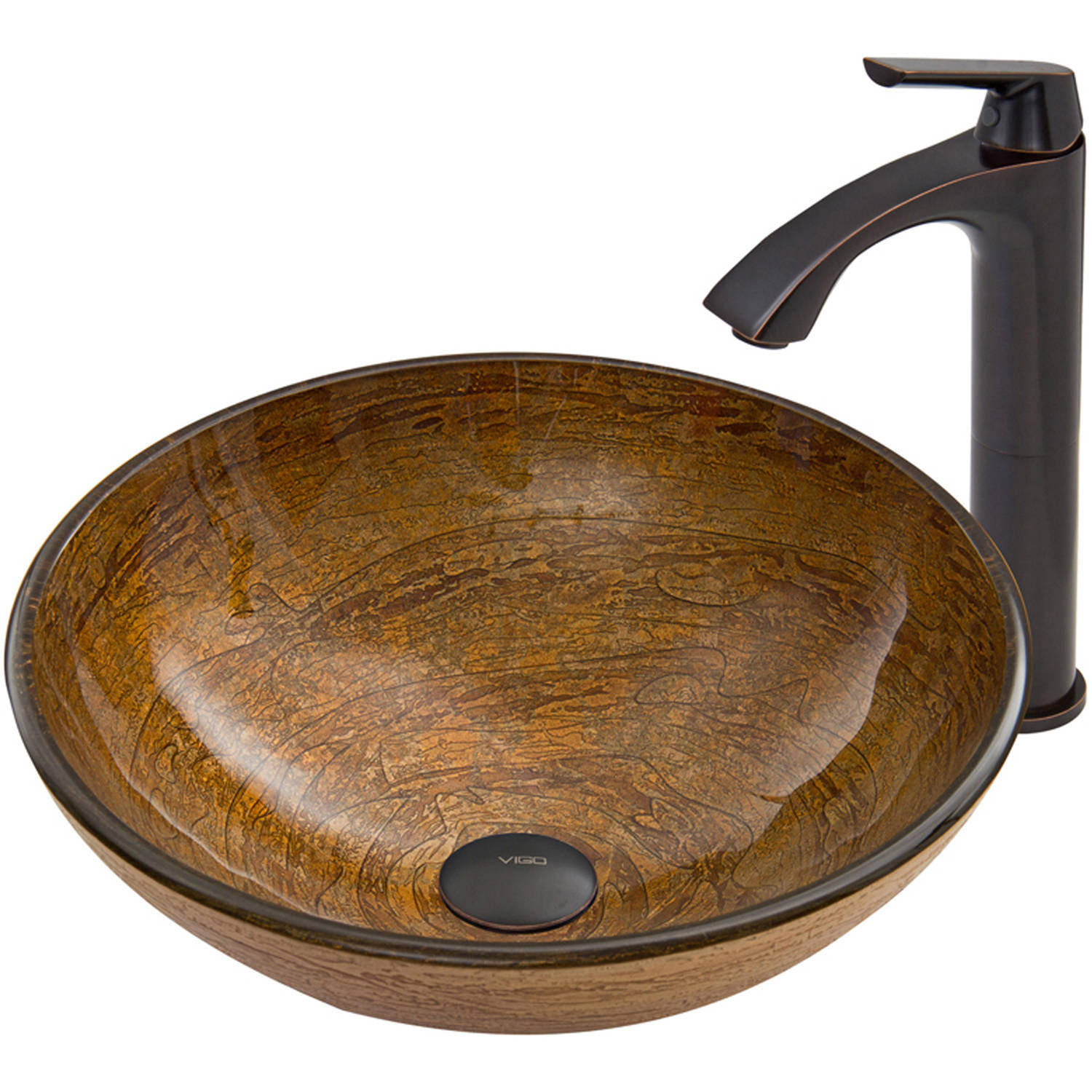VIGO Cappuccino Swirl Glass Vessel Sink and Linus Faucet Set, Antique Rubbed Bronze