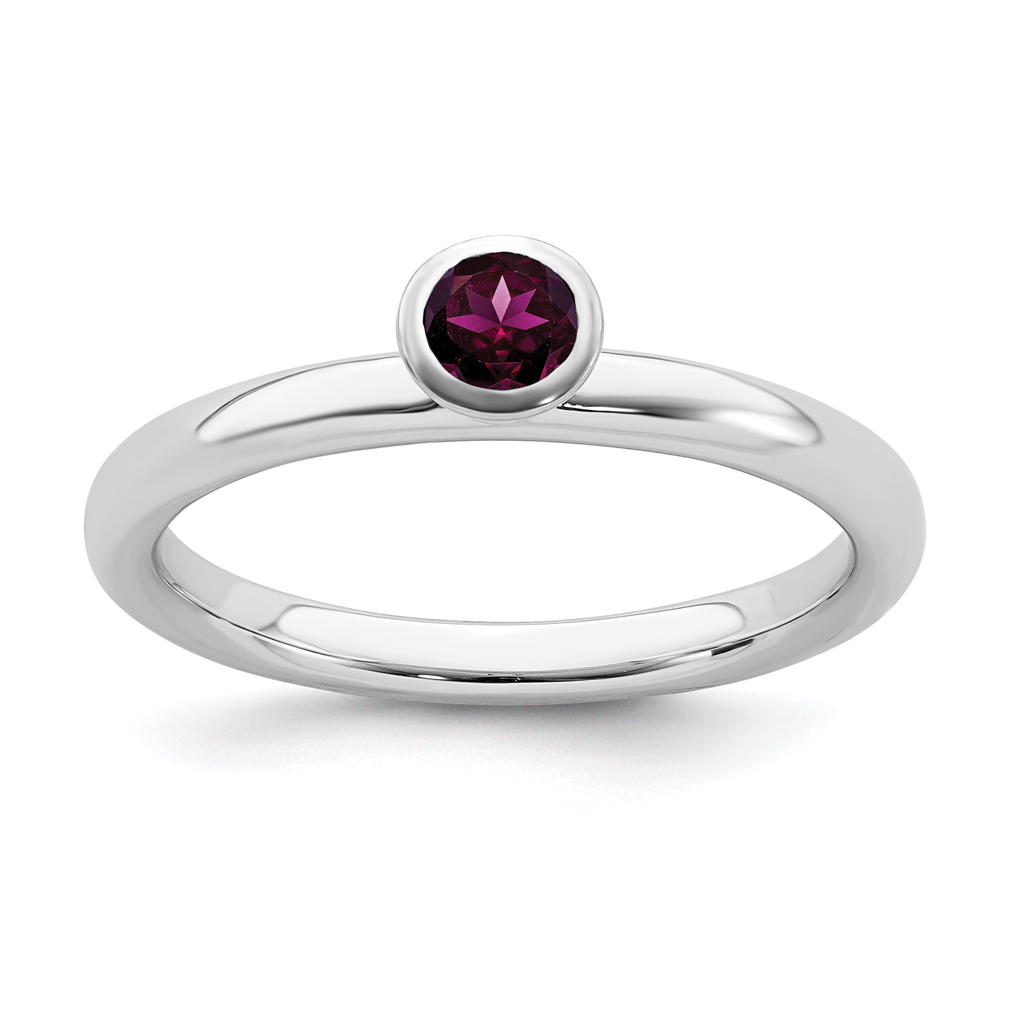 925 Sterling Silver Round Cut Red CZ Stone Stackable Band Heart Shape Women Ring