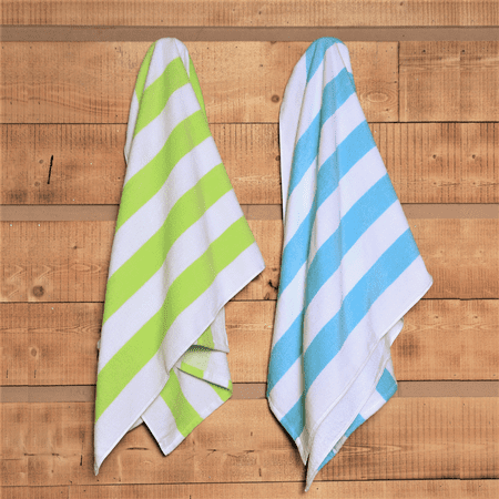 (2 pack) Mainstays Cabana Stripe Beach Towel Set, Lime & Teal