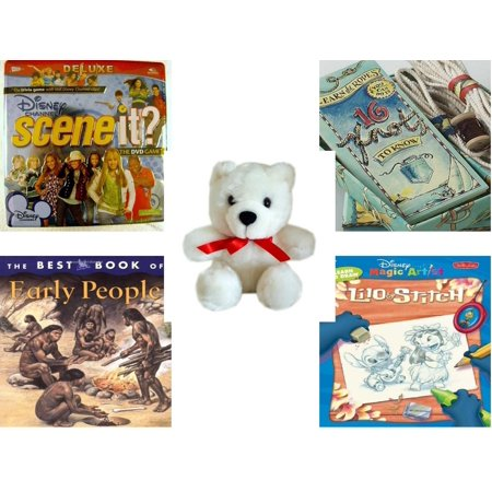 Children's Gift Bundle [5 Piece] -  Disney Channel Scene It? Deluxe  in Tin - Learn the Ropes 16 Knots To Know  - White Teddy Bear Red Ribbon  5