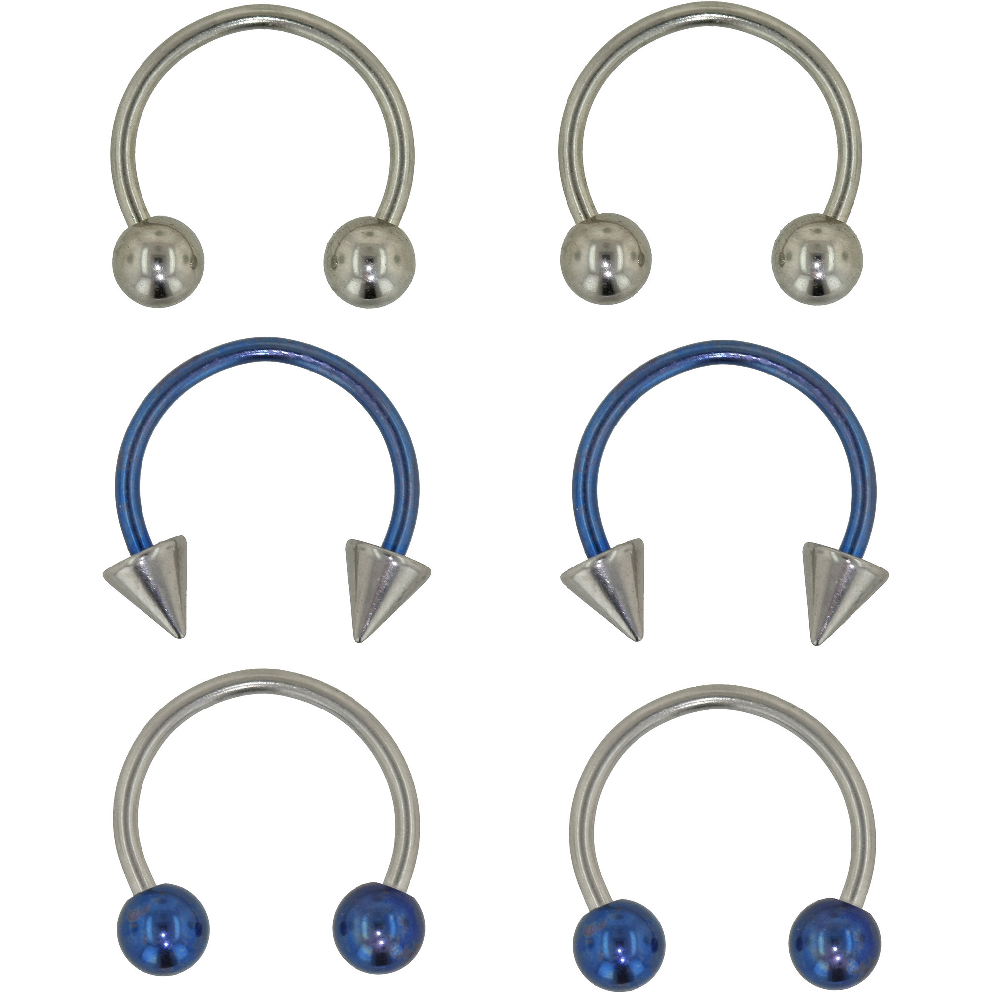 HotSilver Body Jewelry 3 Pack - 20G Surgical Steel Horseshoes - Blue and Silver