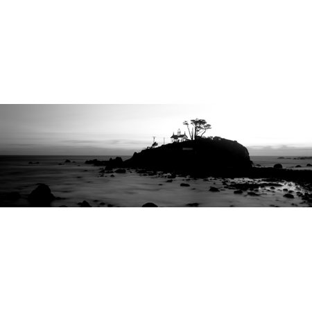 Lighthouse on a hill Battery Point Lighthouse circa 1856 Battery Point Lighthouse Park Crescent City California USA Canvas Art - Panoramic Images (6 x 18) - Battery Park City Halloween Events