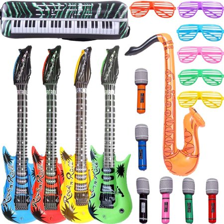Inflatable Rock Star Toy Set - 18 Pack Inflatable Party Props - 4 Inflatable Guitar, 6 Microphones, 6 Shutter Shading Glasses, 1 Saxophone and 1 Inflatable Keyboard Piano Inflatable Rock toys](Guitar Prop)