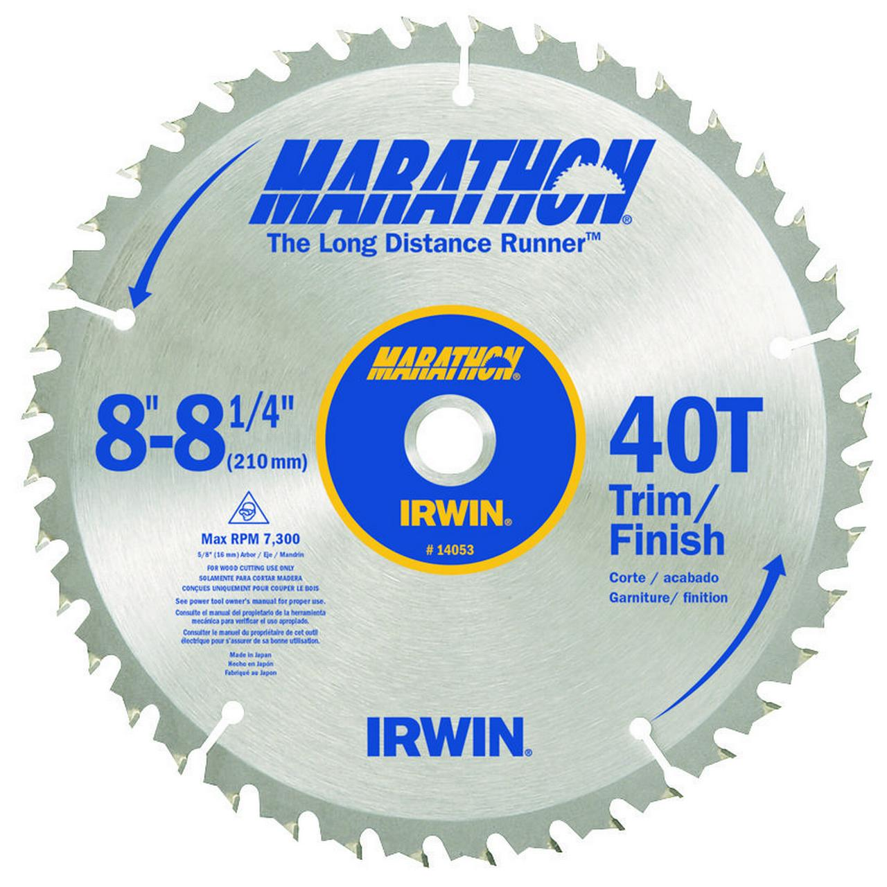 "Irwin Marathon 14053 8-1/4"" 40T Marathon Miter and Table Saw Blades"