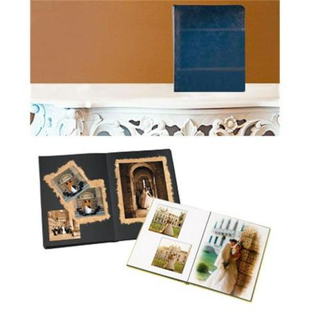 Leather Album Designs PD80161114515B Peel And Stick Self Mount 11X14 Dark Blue Genuine Leather Album 15 Pg - 30 Sides