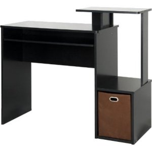 Furinno Econ Multipurpose Home Office Computer Writing Desk with Bin, Black, Multiple Colors
