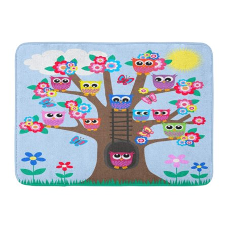GODPOK Green Cartoon Pink Butterfly Tree Full of Owls Blue Family Flower Rug Doormat Bath Mat 23.6x15.7 inch