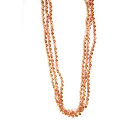 Mardi Gras Throw Beads (Metallic Orange Beads : package of 12, 33 gold beads, 7mm thick Mardi Gras throw beads Made of metallic covered plastic By Rhode Island)