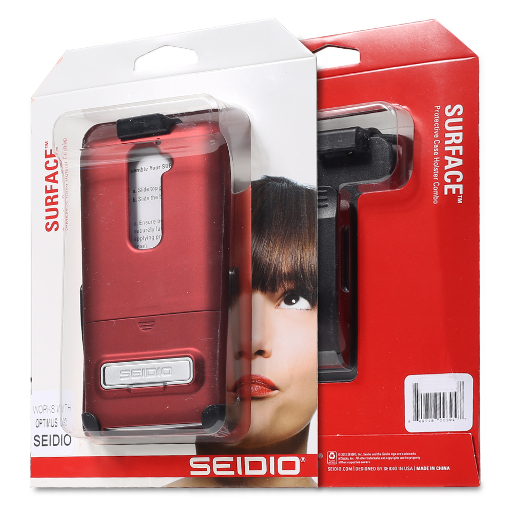Seidio LG G2 / Optimus G2 (AT&T/Sprint/T-Mobile/International) w/ Metal Kickstand Combo - Garnet Red Not for Verizon
