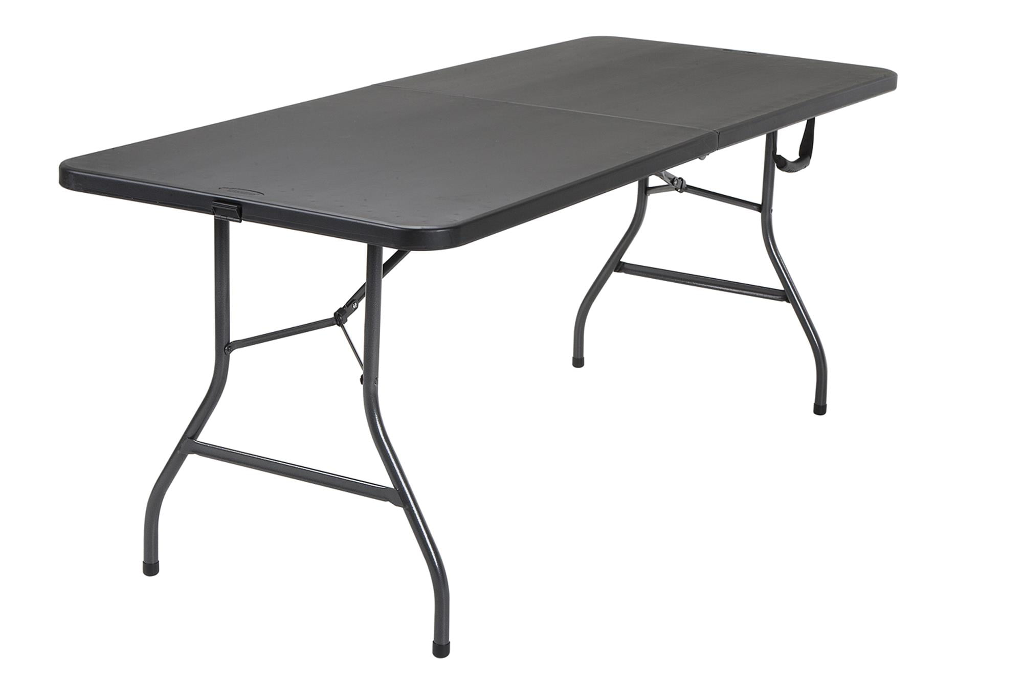 2 Pack Cosco 6 Foot Centerfold Folding Table Black