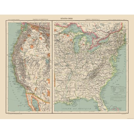 Old State Map - West and East United States - Schrader 1908 - 29.41 x 23