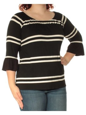 d4e8ca999343f5 Product Image INC Womens Ivory Striped 3 4 Sleeve Scoop Neck Top Size  XL