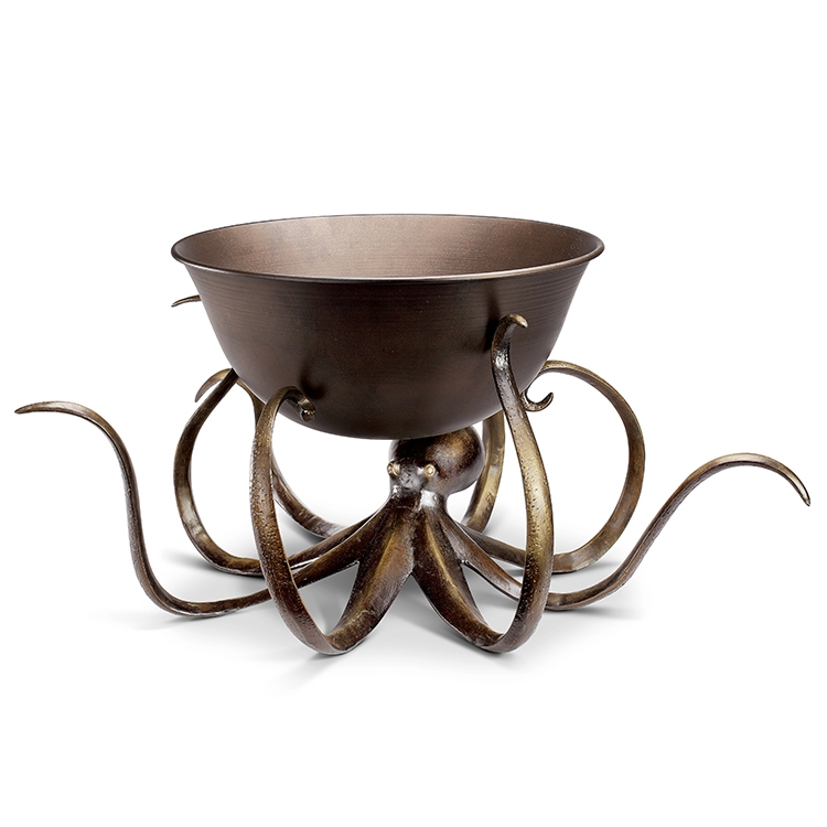 Antiqued Bronze Finish Beverage Tub with Octopus Stand