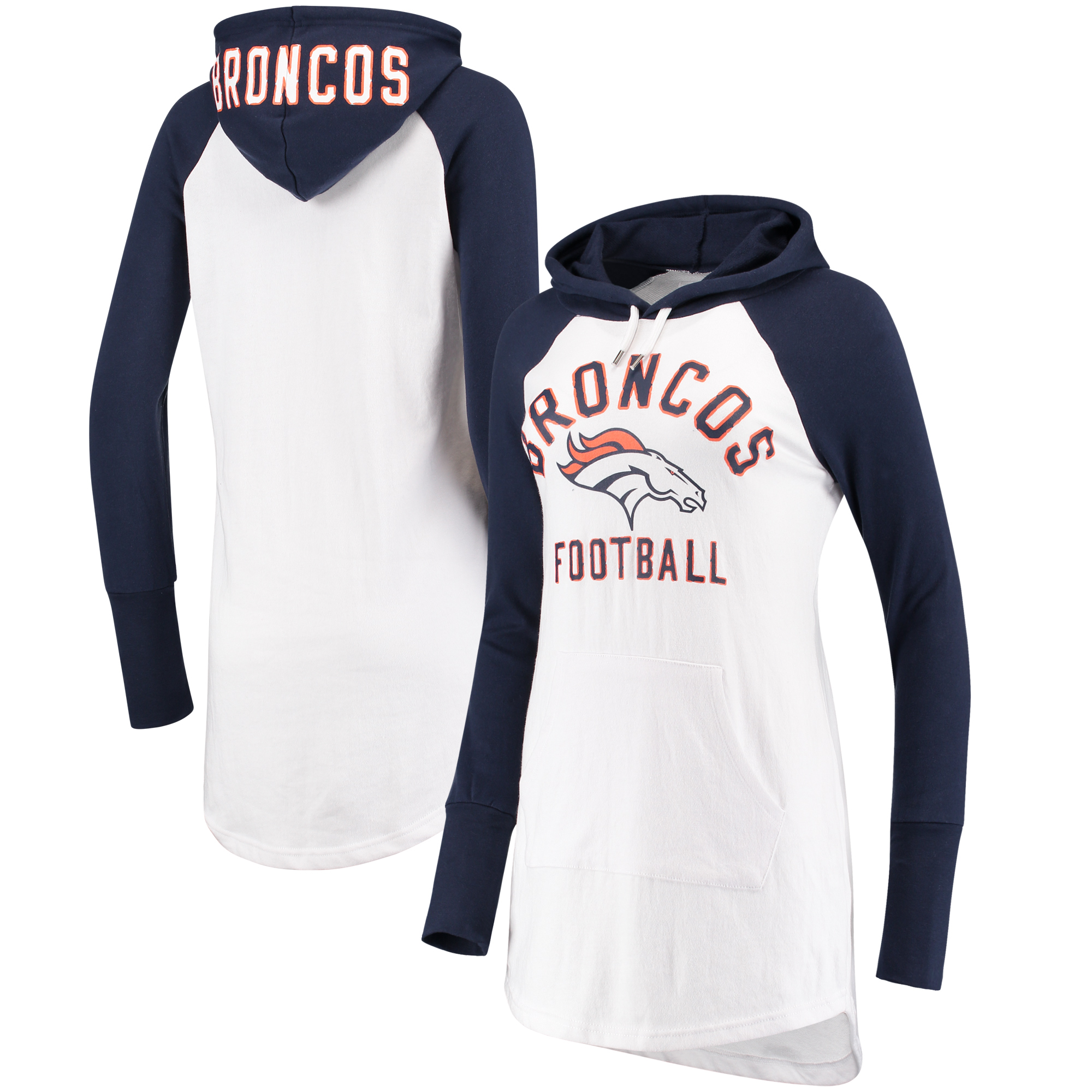 Denver Broncos G-III 4Her by Carl Banks Women's All Division Raglan Sleeve Pullover Hoodie - White/Navy