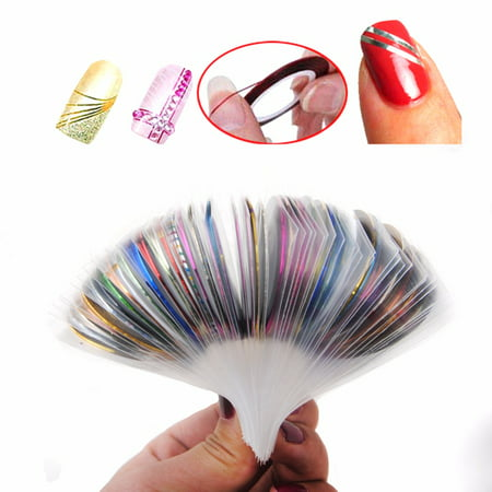 Haobase 30Pcs Striping Tape Line Nail Art Decoration Sticker DIY Nail Stickers Mix Color Rolls (Halloween Nail Art Designs Diy)