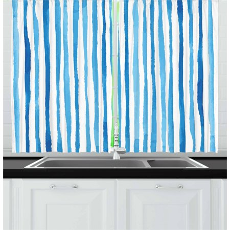 Harbour Stripe Curtains 2 Panels Set, Watercolor Stripes Paintbrush Color Bands Nautical Cottage Design, Window Drapes for Living Room Bedroom, 55W X 39L Inches, Violet Blue White, by Ambesonne ()
