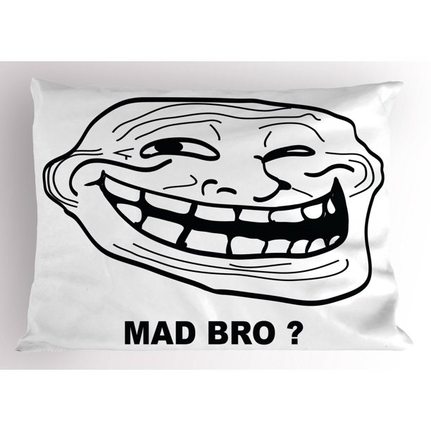 humor pillow sham cartoon style troll face guy for annoying popular artful internet meme design decorative standard size printed pillowcase 26 x 20