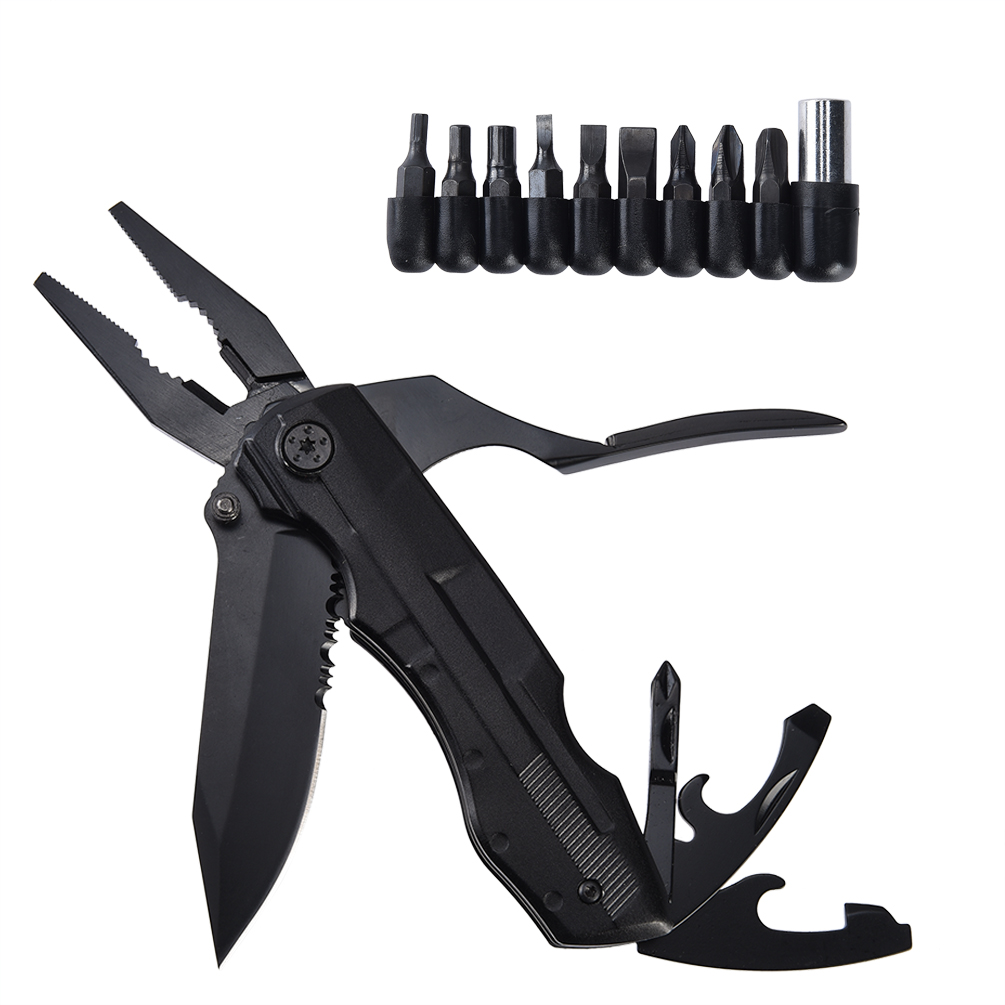 TOOLTOO Folding Pocket Multi-purpose Tool Portable Multitool Outdoor Knife Multi-functional Knife for Outdoor Sports, Black