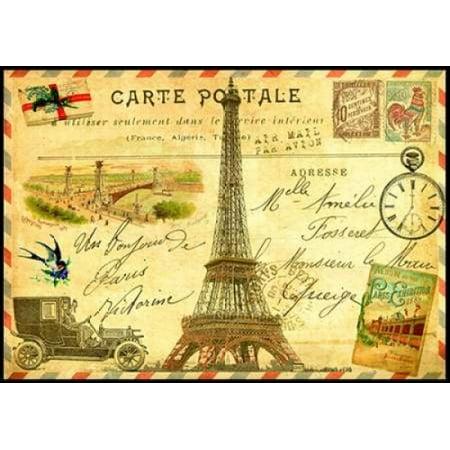 Vintage Paris Postcard Eiffel Tower Poster Print by Marion De (Signed Vintage Postcard)