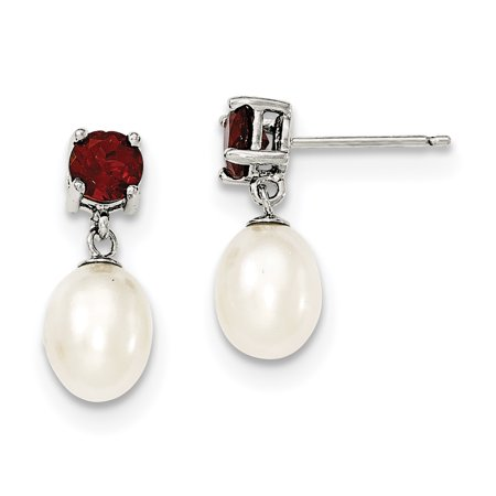 Sterling Silver Garnet & 7-8mm FW Cultured Pearl Teardrop Earrings QE12791 - Garnet Fw Pearl