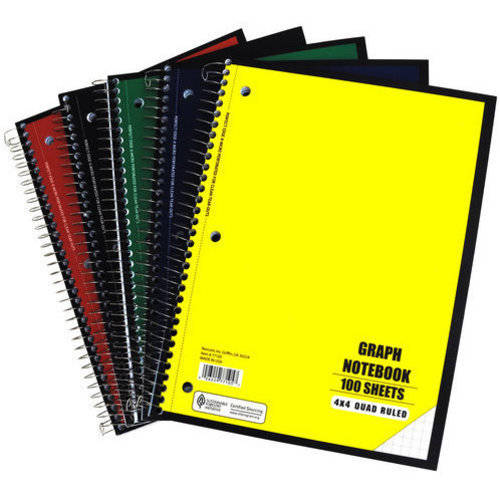 Notebook, Quad Ruled, 100 Sheet, 5pc