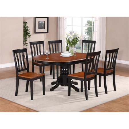 East West Furniture AVAT7-BLK-W 7PC Oval Dining Set with Single Pedestal with 18 in. butterfly leaf and 6 wood seat (Brass Set Pedestal)