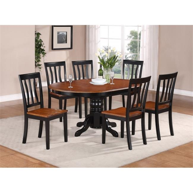 East West Furniture AVAT7-BLK-W 7PC Oval Dining Set with Single Pedestal with 18 in. butterfly leaf and 6 wood seat chairs
