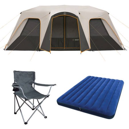 Bushnell 12 Person Instant Cabin Tent with 2 Bonus Queen Airbeds and 4 Chairs Value