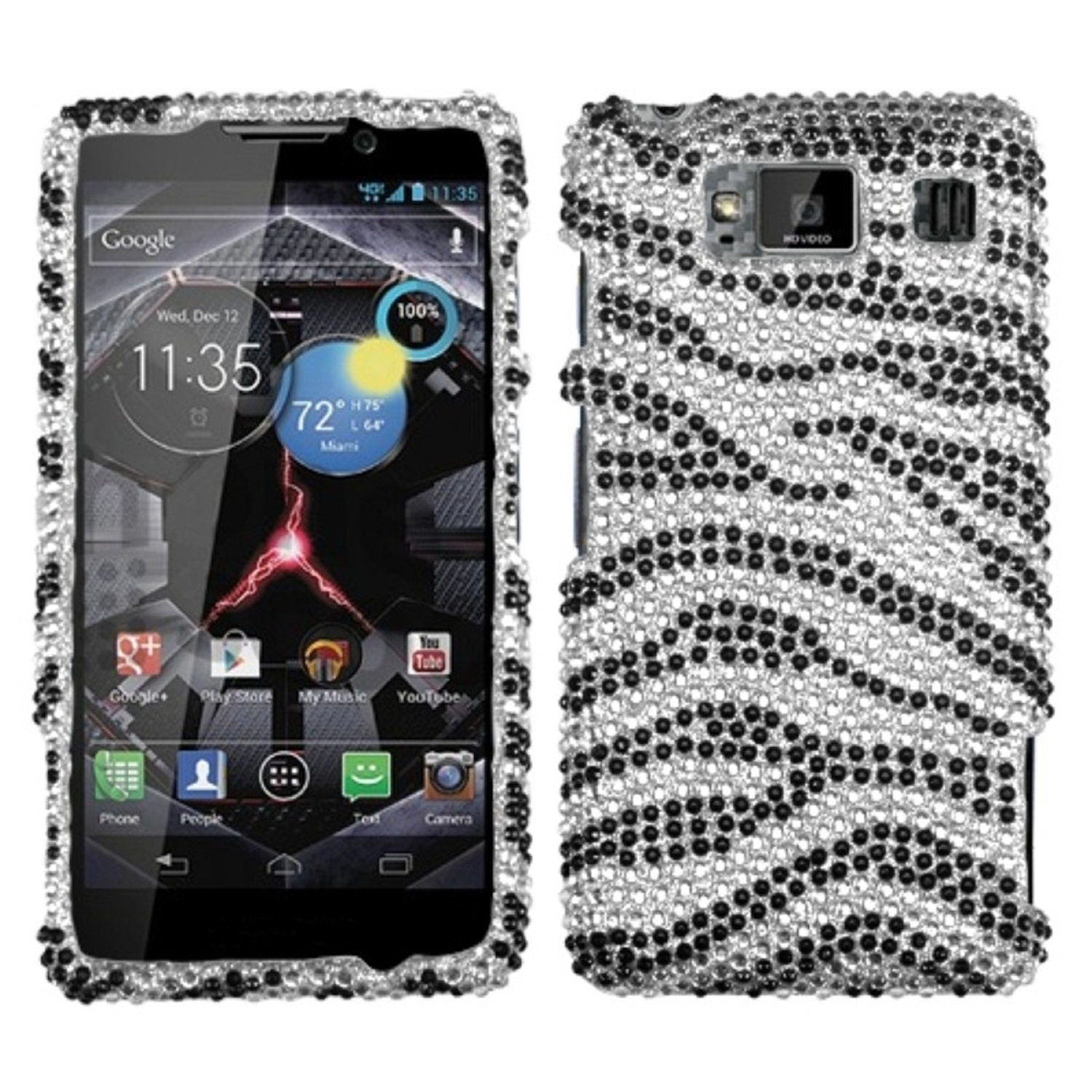 Insten Black Zebra Skin Diamante Case for MOTOROLA: XT926W (Droid Razr HD)