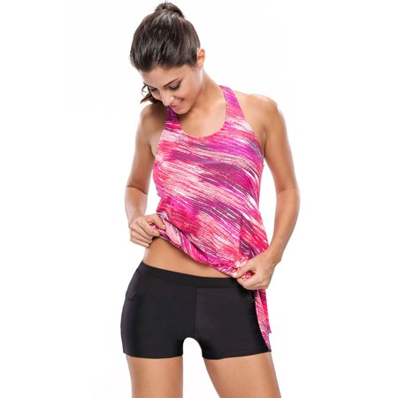 - Women Swimsuit Tankini Celebrity Rosy Print Blouson with Black Swim Bottom Swimwear for Women (Small,MultiColor)