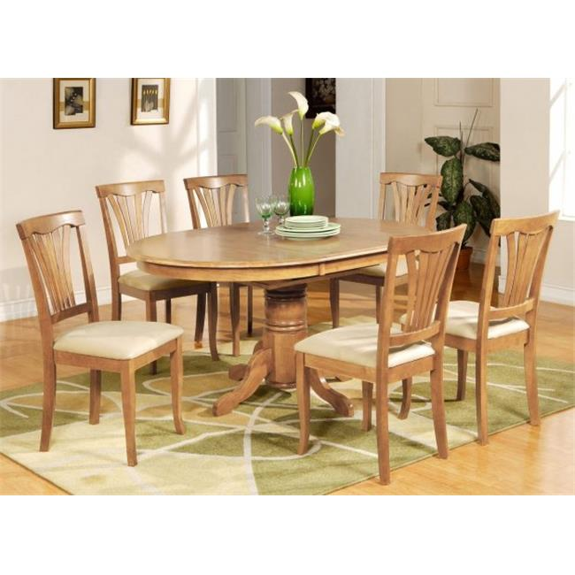 East West Furniture AVON5-OAK-C 5PC Oval Dining Set with Single Pedestal with 18 in. leaf Table and 4 Cushioned seat chairs in Oak Finish