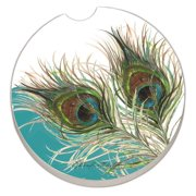 Counter Art Elegant Peacock Feather Absorbent Stoneware Car Coaster