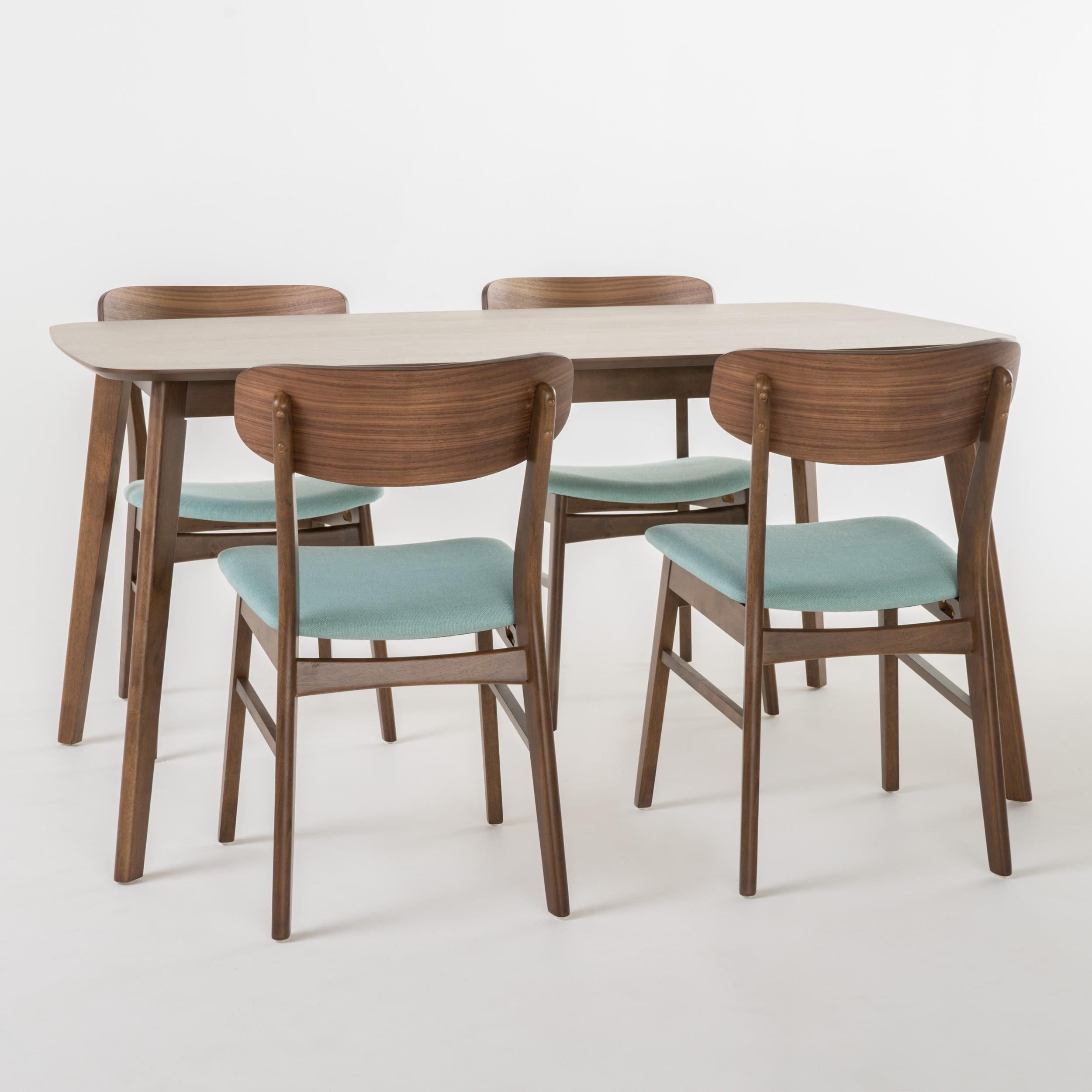Teigen 60-inch Rectangular 5-Piece Dining Set, Mint, Natural Walnut Finish