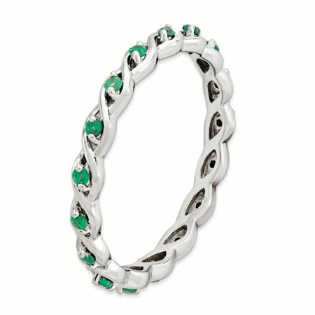Sterling Silver Stackable Expressions Created Emerald Ring Size 9 - image 2 de 3