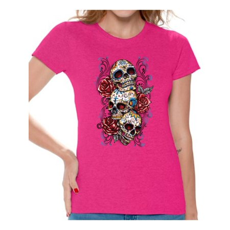 Awkward Styles Three Sugar Skull Tshirt for Women Skull Red Roses Shirt Sugar Skull Shirt Day of the Dead Shirt Dia de los Muertos Gifts for Her Skull T-Shirt Halloween Outfit Sugar Skulls Tshirt - Halloween Messages For Boyfriend